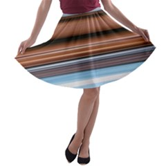 Color Screen Grinding A-line Skater Skirt