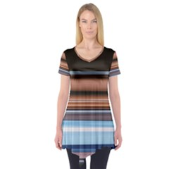 Color Screen Grinding Short Sleeve Tunic