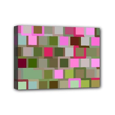 Color Square Tiles Random Effect Mini Canvas 7  x 5