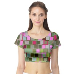Color Square Tiles Random Effect Short Sleeve Crop Top (tight Fit)