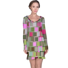 Color Square Tiles Random Effect Long Sleeve Nightdress