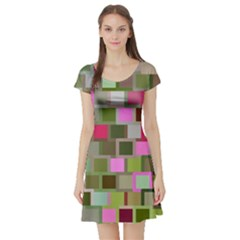Color Square Tiles Random Effect Short Sleeve Skater Dress