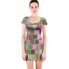 Color Square Tiles Random Effect Short Sleeve Bodycon Dress