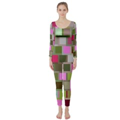 Color Square Tiles Random Effect Long Sleeve Catsuit