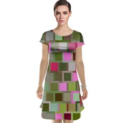 Color Square Tiles Random Effect Cap Sleeve Nightdress