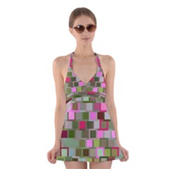 Color Square Tiles Random Effect Halter Swimsuit Dress