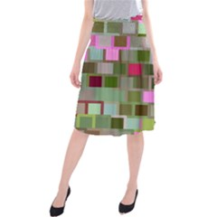 Color Square Tiles Random Effect Midi Beach Skirt