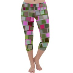 Color Square Tiles Random Effect Capri Yoga Leggings