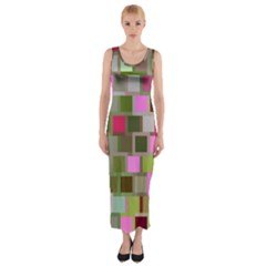 Color Square Tiles Random Effect Fitted Maxi Dress