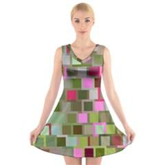 Color Square Tiles Random Effect V Neck Sleeveless Skater Dress
