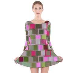 Color Square Tiles Random Effect Long Sleeve Velvet Skater Dress
