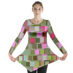 Color Square Tiles Random Effect Long Sleeve Tunic