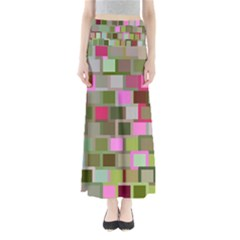 Color Square Tiles Random Effect Maxi Skirts