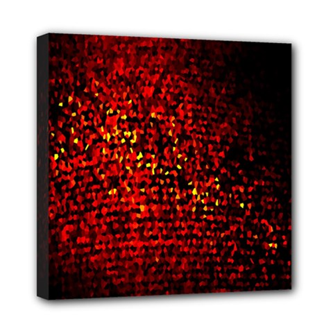 Red Particles Background Mini Canvas 8  x 8
