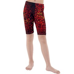 Red Particles Background Kids  Mid Length Swim Shorts