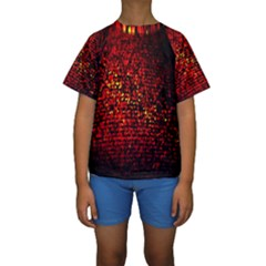 Red Particles Background Kids  Short Sleeve Swimwear