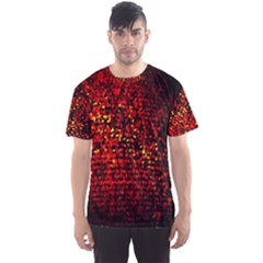Red Particles Background Men s Sport Mesh Tee