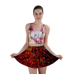 Red Particles Background Mini Skirt