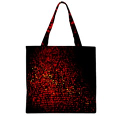 Red Particles Background Zipper Grocery Tote Bag