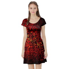 Red Particles Background Short Sleeve Skater Dress