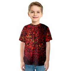 Red Particles Background Kids  Sport Mesh Tee