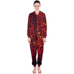 Red Particles Background Hooded Jumpsuit (ladies)