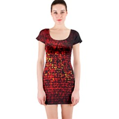 Red Particles Background Short Sleeve Bodycon Dress