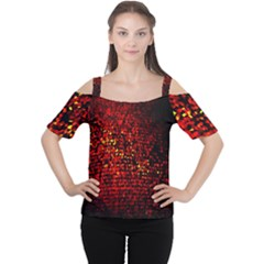 Red Particles Background Women s Cutout Shoulder Tee