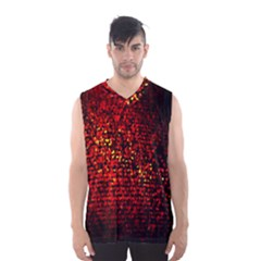 Red Particles Background Men s Basketball Tank Top