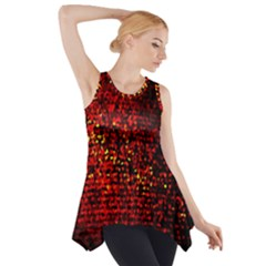 Red Particles Background Side Drop Tank Tunic