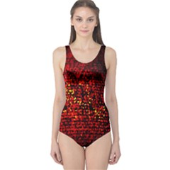 Red Particles Background One Piece Swimsuit