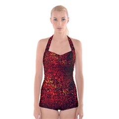 Red Particles Background Boyleg Halter Swimsuit