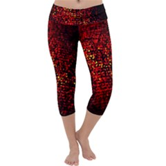 Red Particles Background Capri Yoga Leggings