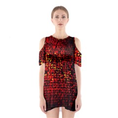 Red Particles Background Shoulder Cutout One Piece