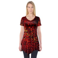Red Particles Background Short Sleeve Tunic
