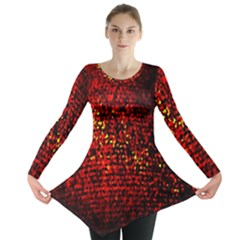 Red Particles Background Long Sleeve Tunic