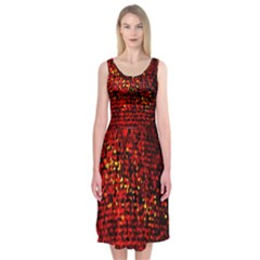 Red Particles Background Midi Sleeveless Dress