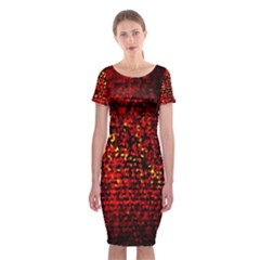 Red Particles Background Classic Short Sleeve Midi Dress