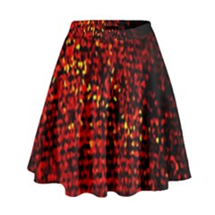 Red Particles Background High Waist Skirt