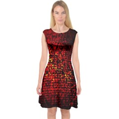 Red Particles Background Capsleeve Midi Dress