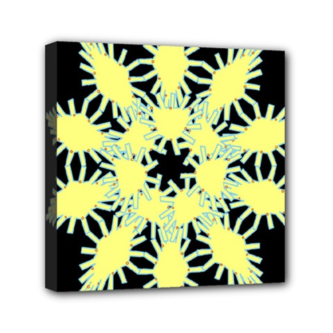 Yellow Snowflake Icon Graphic On Black Background Mini Canvas 6  X 6