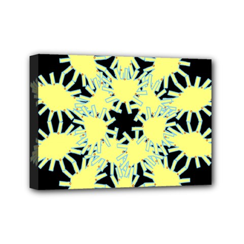 Yellow Snowflake Icon Graphic On Black Background Mini Canvas 7  x 5