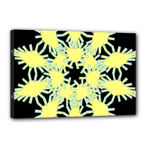 Yellow Snowflake Icon Graphic On Black Background Canvas 18  x 12