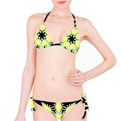 Yellow Snowflake Icon Graphic On Black Background Bikini Set