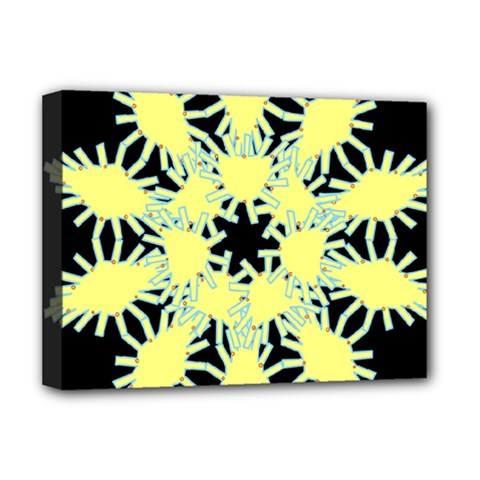 Yellow Snowflake Icon Graphic On Black Background Deluxe Canvas 16  x 12