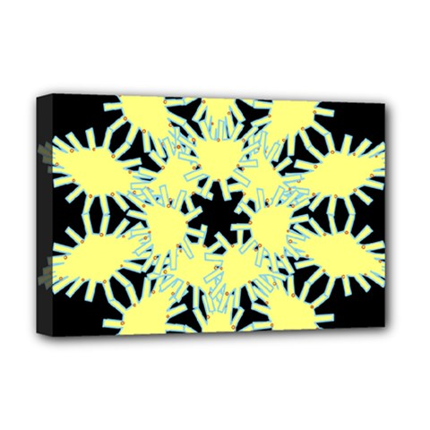 Yellow Snowflake Icon Graphic On Black Background Deluxe Canvas 18  x 12