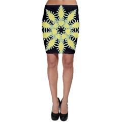 Yellow Snowflake Icon Graphic On Black Background Bodycon Skirt