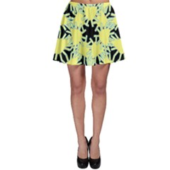 Yellow Snowflake Icon Graphic On Black Background Skater Skirt