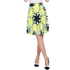 Yellow Snowflake Icon Graphic On Black Background A Line Skirt