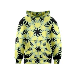 Yellow Snowflake Icon Graphic On Black Background Kids  Pullover Hoodie